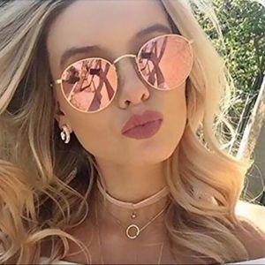 Gold Pink Round Sunglasses 💕